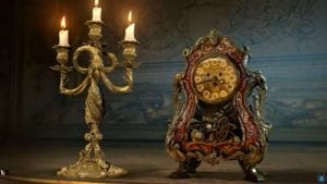 "Lumiere and Cogsworth in Disney's live-action ""Beauty and the Beast"""