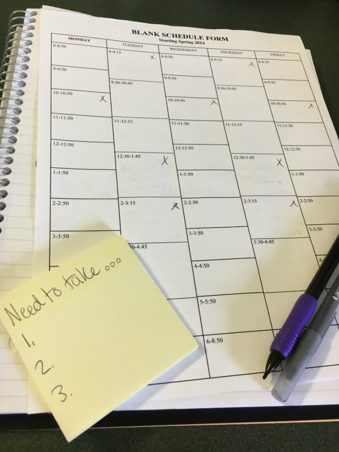 Students are highly encouraged to make a blank schedule sheet to see what courses they can fit into the spring semester.