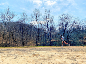 Brendan Sands is on his morning run near Bethany, W.Va. Sands is building his base in running for the upcoming season.