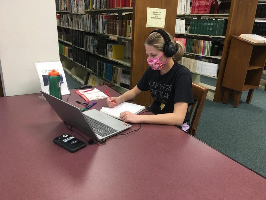 Graduate student Caitlin Devries studies quietly in the library. Devries is working to obtain her traditional biology master's degree.