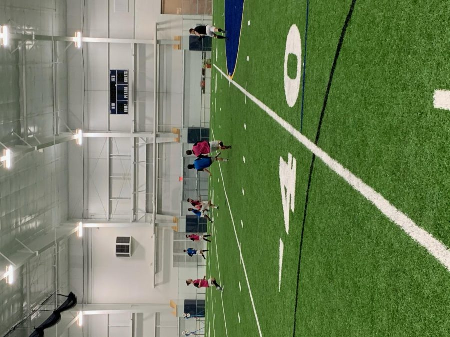 Men's Soccer training at the Highlands indoor facility