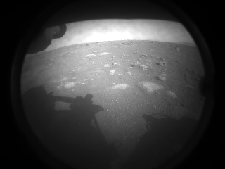 Perseverance rover's first photo upon landing
