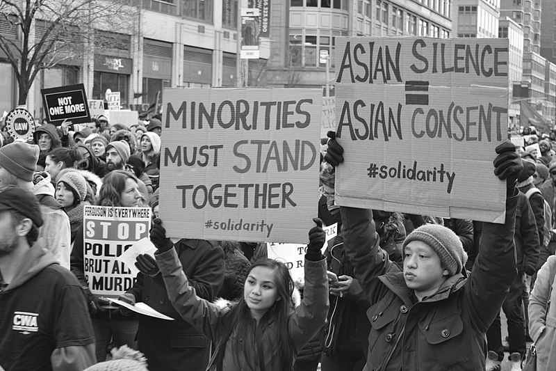 Asian American protestors March 2020
