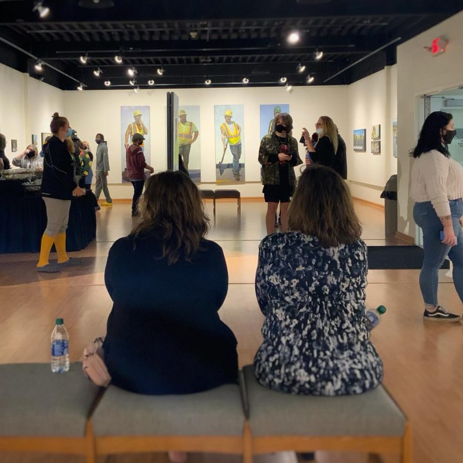 Students, faculty and local artists at the Nutting Gallerys The Grit Series show by Rebecca Signoriello