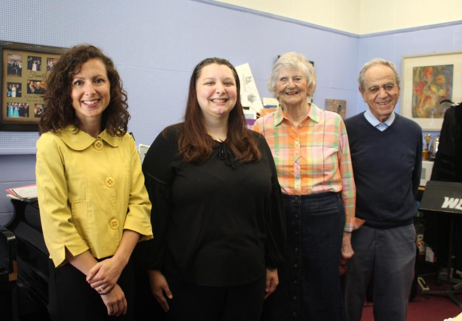 From left, Angie Zambito-Hill, Josie Jarrett, Judy and Andy Paesani of Wheeling gather for a photo celebrating the inaugural scholarship award from the Judith Bartell Paesani Vocal Music Scholarship fund.