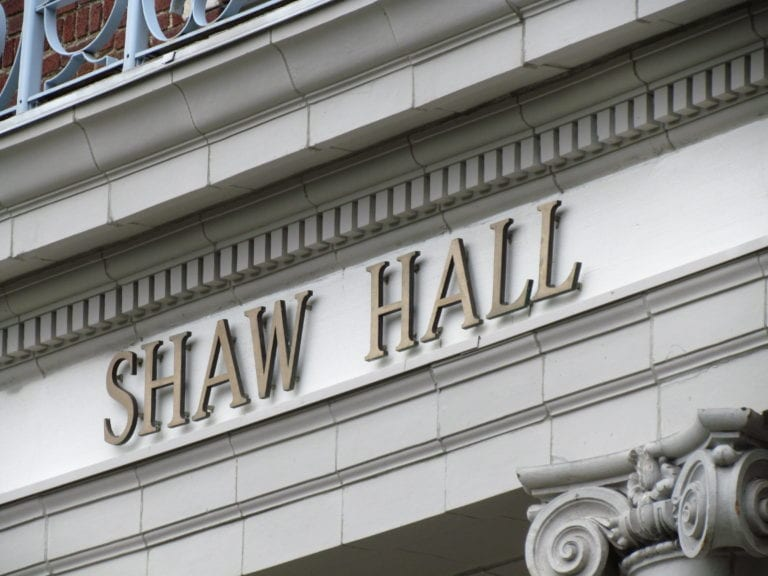 Historic Shaw Hall has been on campus for over 100 years, this lettering can be seen above the entrance doors leading into the building.