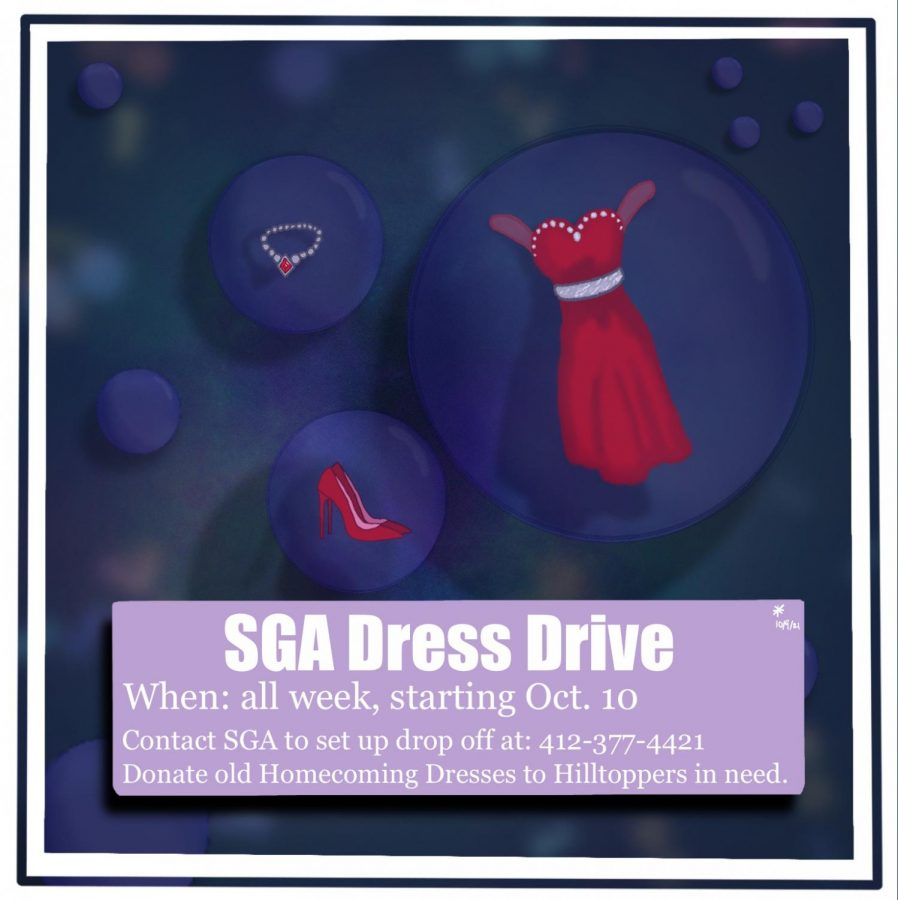 A graphic of the SGA Dress drive by Samantha Snyder.