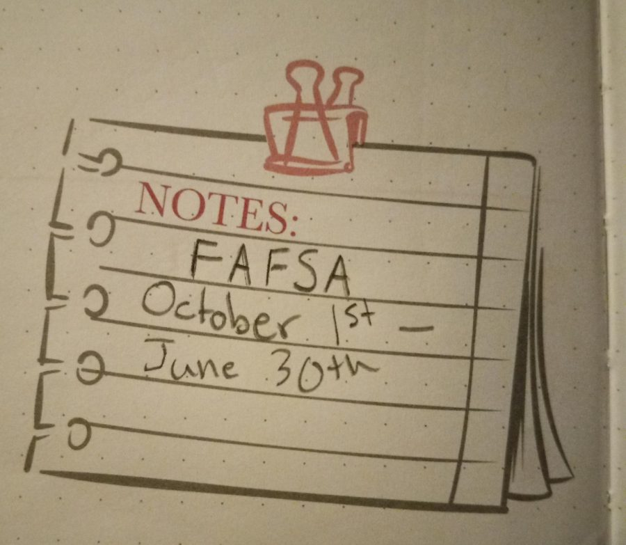 A note of the FAFSA deadline in a bullet journal.