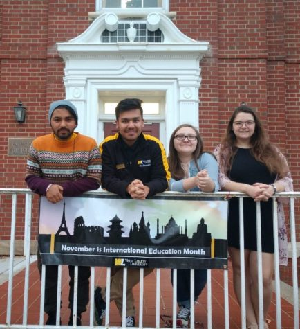 The SPICES International Club Officers. From left to right are shown pre-pandemic, Umesh Nepali (vice president), Adwit Lamichhane (president), Alexis Watkins (events) and Serena Smith (marketing).