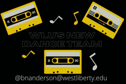 A graphic for the new dance team that was made using Canva.